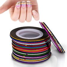 20 Rolls Striping Tape Line 0.8mm DIY Nail Art Tips Sticker Deco Colour Choice
