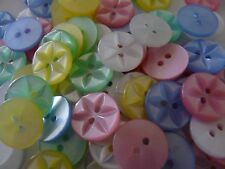 100 ASSORTED COLOURS STAR BUTTONS SIZE 18 - 11MM