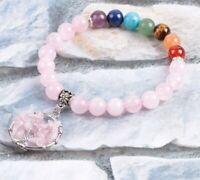 Bracelet 7 chakras pierres naturelles agathe jade aventurine oeil de tigre
