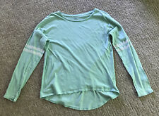 Old Navy Girls Long Sleeve Top Mint Green White Stripes On Sleeve Size Xl 14