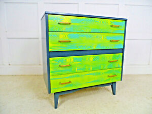 VINTAGE RETRO LEBUS RESTYLED PAINTED CHEST OF DRAWERS 60s 70s design woodgrain