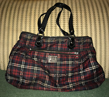 Coach Poppy Plaid Tote Blue and Red