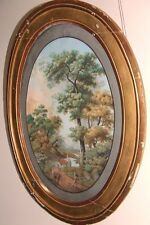 France 1770: Large,  Beautiful Landscape Gouache in an Antique Oval Frame