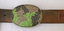 """Vintage Belt 34 36 Brown Leather 1 3/4"""" wide with Camo Bling Buckle"""