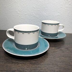 2 Dansk GRIDWORKS DINNERWARE GREEN Tea Cups & Saucers Portugal