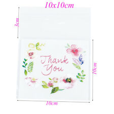 100pcs 4 Sizes Thank You Flower Pattern Self Adhesive DIY Cookie Plastic Bags 10x10cm