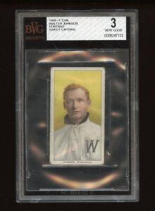 1909-11 T206 Set Break Walter Johnson portrait Sweet Cap BGS 3 VERY GOOD