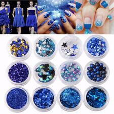 Nail Art 3D DIY Blue Rhinestones Jewelry Pearl Mix Nail Art Decoration Glitter