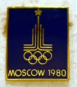 """1980 Blue Background Moscow Olympics Logo Pinback Collectors Pin - 7/8"""" x 3/4"""""""