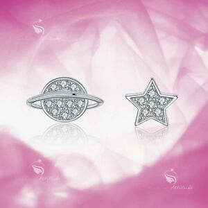 925 silver earrings simulated diamond screw back baby girl stud planet halo star