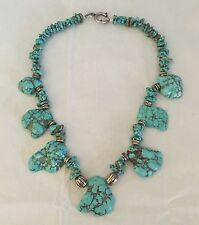 Large TURQUOISE Stone NUGGET NECKLACE  Choker