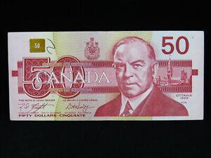 1988 $50 Dollar Bank of Canada Banknote Bill FHZ 2940149 Knight Dodge EF Grade
