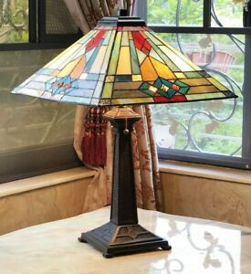 Tiffany Style Stained Glass Table Lamp Mission Design Antique Bronze Base
