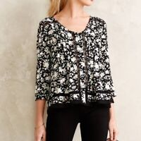 Anthropologie Womens Maeve Celyn Peasant Floral Blouse Top Size 10 Cottagecore