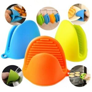 2 Pcs Kitchen Silicone Heat Resistant Gloves Grip Baking Mitts Oven Pot For Home