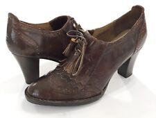 Born Crown Heels Size 8 Brown Block Heel Leather Tassel Wingtip Dressy Shoes