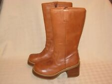 BONGO VINTAGE WOMEN'S BROWN LEATHER LUG HEEL SIDE ZIPPER BOOTS SIZE 7 M EUC