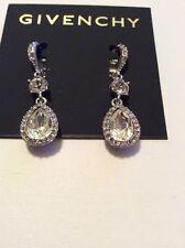 $48 Givenchy Silver Tone Glass Stone  Teardrop Earrings $48  303c