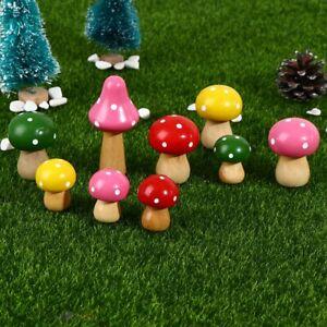 3Pcs Mushrooms Miniatures Figurines Wooden Mushrooms Fairy Garden Accessories