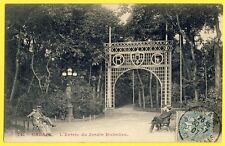 cpa 62 - CALAIS en 1907 L'Entrée du JARDIN RICHELIEU Banc à Mr DAUBIGNY de Paris