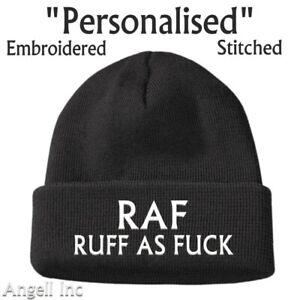 Mens Gift RAF RUFF AS F**K Beanie Hat funny Rude Builder Joke Work Mate Staff
