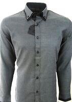 MENS DOUBLE COLLAR DARK GREY SHIRT LONG SLEEVE FORMAL DRESS CASUAL £16.99(377)