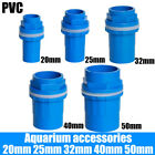 PVC Pipe Fitting 20mm~50mm Pressure Tank Connector Bulkhead For Aquariums Blue