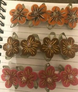 (2) Victorian Embroidered Felt Flowers w/ Pearl Metal Barrettes
