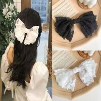 Fashion Girls Cloth Lace Large Barrettes Bow Hair Clip Hair Accessories Hairpin