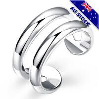 925 Sterling Silver Filled Adjustable Plain Band Ring Gift