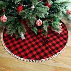 "48"" Buffalo Plaid Red and Black Christmas Tree Skirt Xmas Holiday Decor for Home"