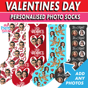 Personalised Photo Socks Valentines Day Gift Add Any Photos Choice of 18 Designs