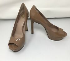 """VINCE CAMUTO """"VC Bette"""" Taupe Patent Leather High Heel Platform Pumps; Size 9M"""