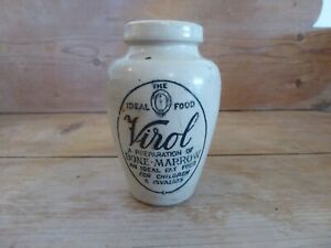 "Rare Small Antique  Stoneware Jar ""Virol"" Bone Marrow Preparation"
