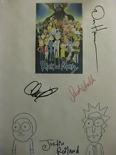 Rick and Morty Signed TV Pilot Script Justin Roiland Dan Harmon Chris Parnell rp