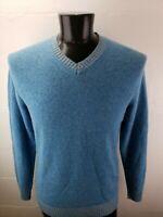 Glen Lyon 100% Cashmere Long Sleeve Crewneck Sky Blue Sweater Mens Large