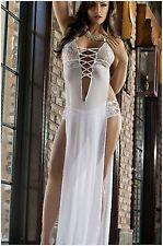 Women's Sexy Elegant Lingerie Mesh Maxi Dress Backless Sleepwear W/G-String 2017