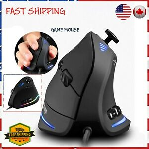 10000DPI Optical Programmable 11 Buttons USB Wired Vertical Ergonomic Mouse NEW