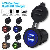 12V Car Cigarette Lighter Socket 4.2A Dual USB Port LED Charger Power Outlet 24V
