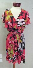 MISS SIXTY M60 summer dress colorful lined sz 6 S M XS red yellow black chiffon