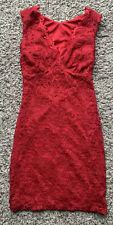 Women's Red Lace Sleeveless Open Back Short Cute Formal Party Dress Size S