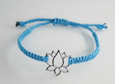 Lotus Blume Makramee Glücks Armband Freundschaftsarmband Tibetsilber Blau 25 cm