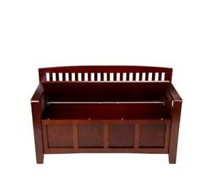 Linon Chinese Hardwood MDF Plywood storage bench - Walnut