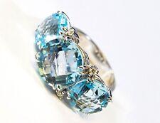 Anello in Oro Bianco 18 kt 750/°°° Topazio Azzurro e Diamanti MIRCO VISCONTI