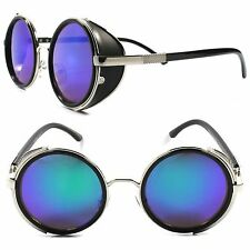 Side Shield Indie Retro Goth Steampunk Style Green Mirror Lens Round Sun Glasses