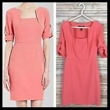 BCBGMaxAzria / Coral Pink Salmon Anouck Square Neck BCBG Cocktail Dress - Size 4