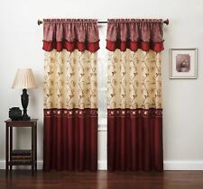 4 pc Burgundy Red Gold Floral Window Curtains Panels Drapes Valance Set 84 inch