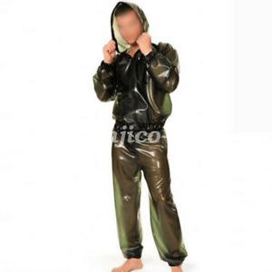 Latex Gummi Rubber Handmade Cool Man Hooded Catsuit Cool Bodysuit Size:XXS-XXL