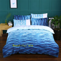 Ocean Waves Blue Single/Double/Queen/King Size Bed Doona Quilt Duvet Cover Set