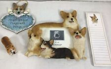 Corgi Dog Resin 3D Photo Frame With Ornament Note Pad And Mini Corgi Figurine